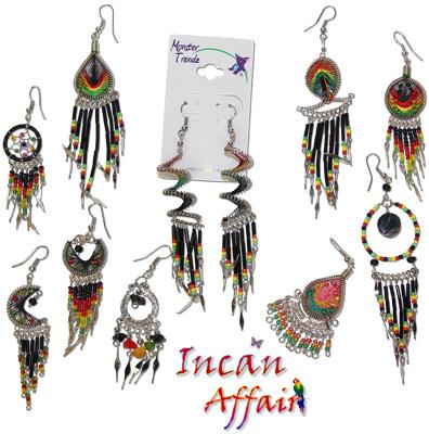Peruvian beaded rasta colored earrings