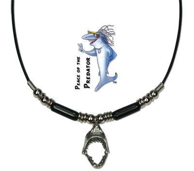 Pewter shark jaw pendant with black Greek ceramic beads