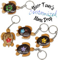 Name drop painted coco sea turtle key rings