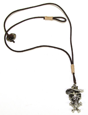 Pewter pirate skull on hemp wrapped leather necklace