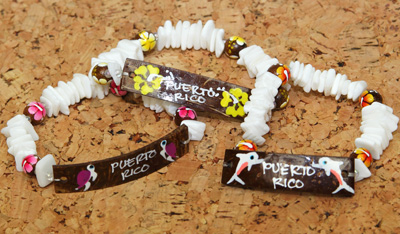 Hand painted floral coco and puka shell bracelet