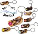 Name drop painted coconut flip flop key rings