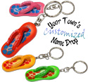 Name drop painted flip flop key rings