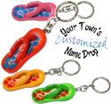 Name drop painted flip flop key rings