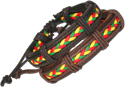 Leather bracelet with the Rasta colored bolo cord