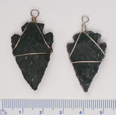 P-PSP166-BO, Black obsidian wire wrapped arrowhead pendants