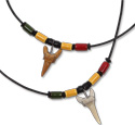 Super sand shark wrapped tooth on Rasta ceramic beaded necklace