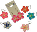 Island flower fimo and CZ crystal dangle earrings