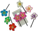 Pairs of Island flower fimo and CZ crystal hair bobbie  pins