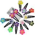 Island Flower fimo petal and CZ crystal stud hair clips