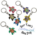 Key ring with resin sea turtle domed with shells