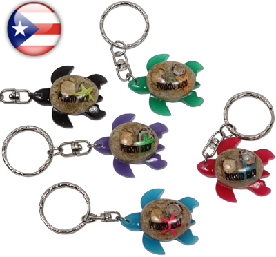 Puerto Rico Key ring with resin sea turtle domed with shells