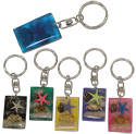 Key ring with rectangular shells in resin with shells