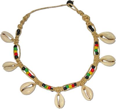 Glass rasta bead, hemp and cowrie choker
