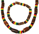 Rasta CoCo bead elastic bracelets and clasp necklaces