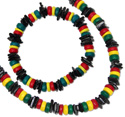 Black painted puka shell chips and Rasta CoCo bead