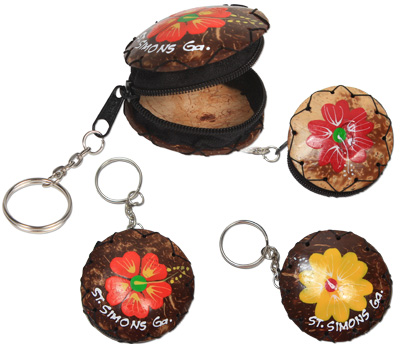 Hand painted coco coin purse/pill box key rings