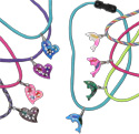 Tie dye glass hearts on 550 paracord necklace