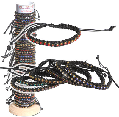 Faceted jewel colored crystal braided bracelets