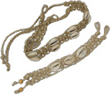 Wide open macreme braided hemp bracelets and chokers with cowrie shell accents