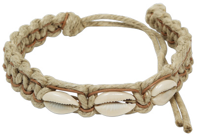 Heavy hemp leather macreme choker with cowrie shells