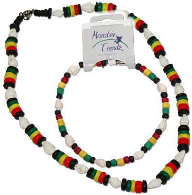Rasta coco and white nassa shell anklets or necklace