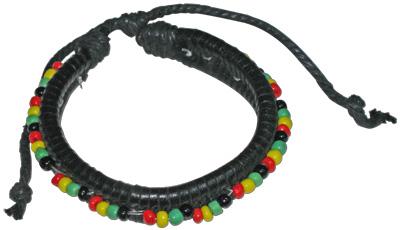 Rasta black leather braided bracelets