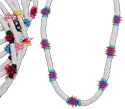 Bright silicone spikey beads and white heishi shell necklaces