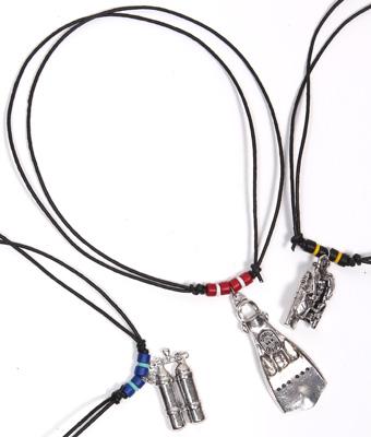 Pewter scuba pendant  necklace