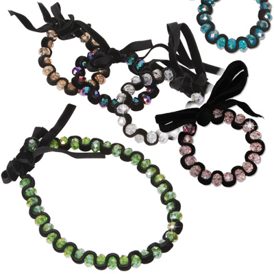 Faceted crystal wave ribbon bracelets and chokers