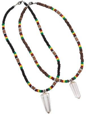 Quartz crystal pendant on rasta coco heishi necklace