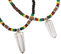 Quartz crystal pendant on rasta coco heishi necklace