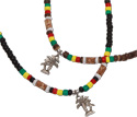 Palm tree pendant on rasta coco heishi necklace