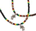 Palm tree pendant on rasta coco heishi necklace