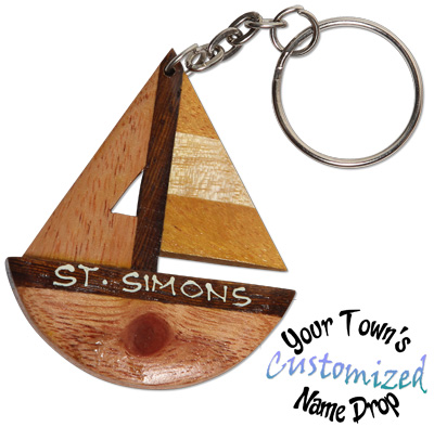 Multi wood hand carved sailboat key rings