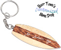 Multi wood hand carved surfboard key rings