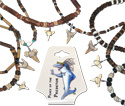 shark teeth on coco and shell beaded necklaces