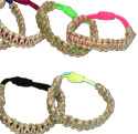 Macrame hemp over tie dye and right solids colored stretch adjustable bracelet