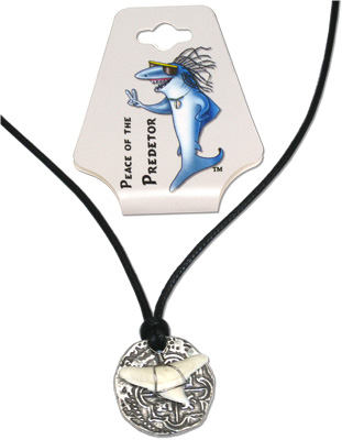 Pewter medallian coin with tiger shark tooth on waxed cord