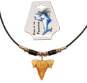 Tropical Rose Leather Neck with Black  Ceramic Beaded Shark Tooth Pendant