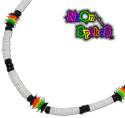 Rasta silicone spikey beads and white heishi shell necklaces