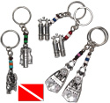 Pewter scuba accessory pendant on beaded key chains