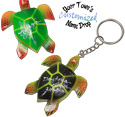 Hand painted coco and wood sea turtle key rings