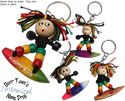 Beaded Rasta surfer key chain