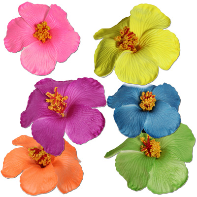 Neon habiscus flower hair clips