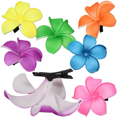 Tropical Rose Neon Plumeria Flower Hair Clips