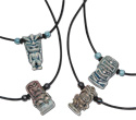 Ceramic Tiki talisman pendant on beaded leather necklace