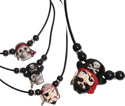 Beaded leather necklaces with ceramic pirate pendants