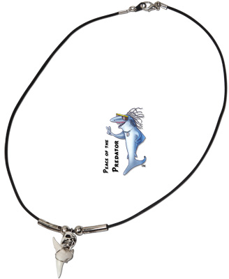 Mako shark tooth necklace with skull