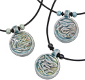 necklaces with ceramic shark disk pendants